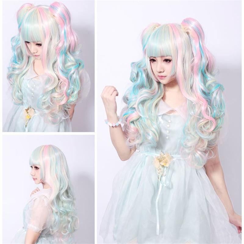 60 Cm Harajuku Lolita Wig Anime Cosplay Long Curly Wavy Clip on 2 Ponytails  Synthetic Hair Pink Blue Blonde Wigs Peruca Peruke 837b173ef851