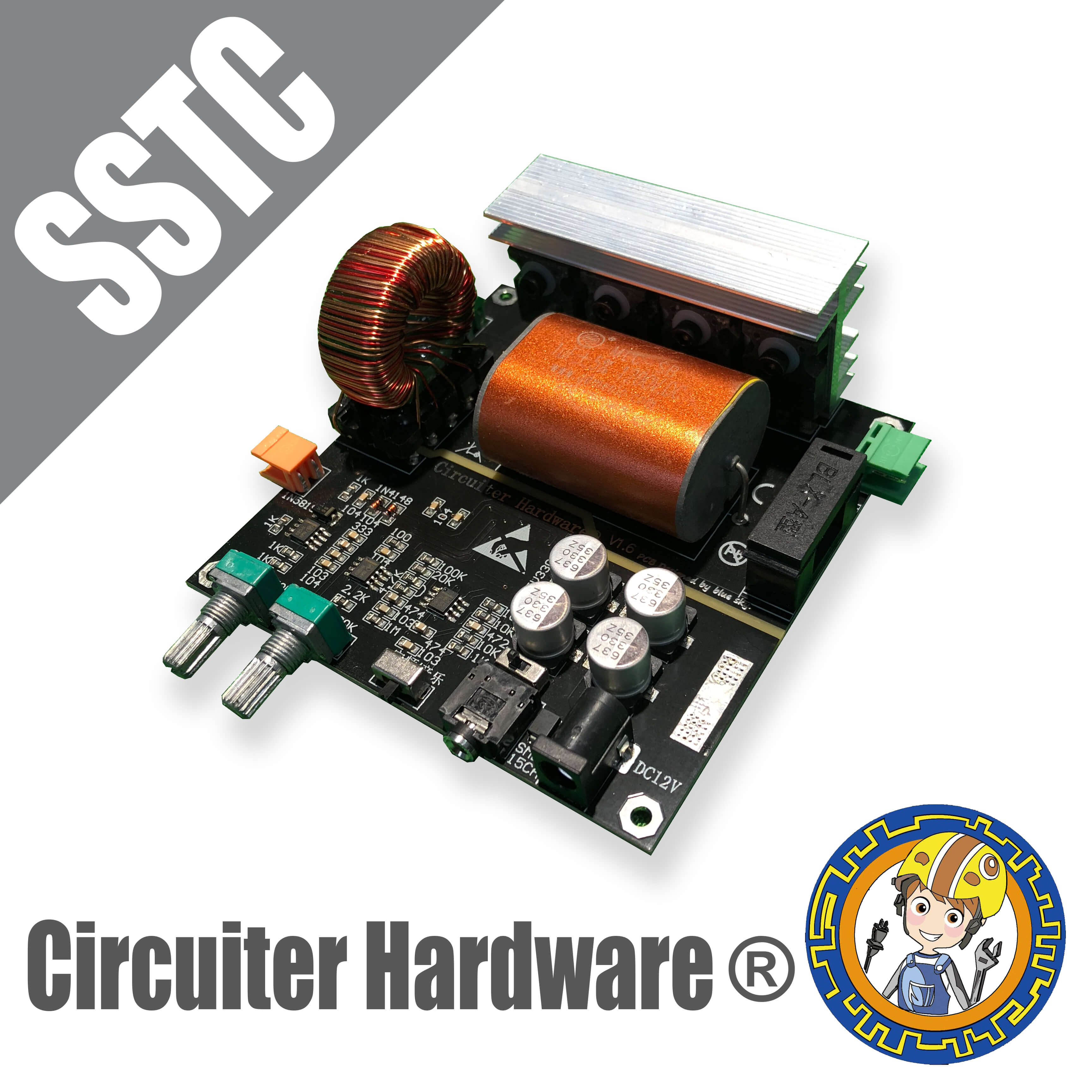 SSTC integrated drive board finished solid state Tesla coil of the first TC!