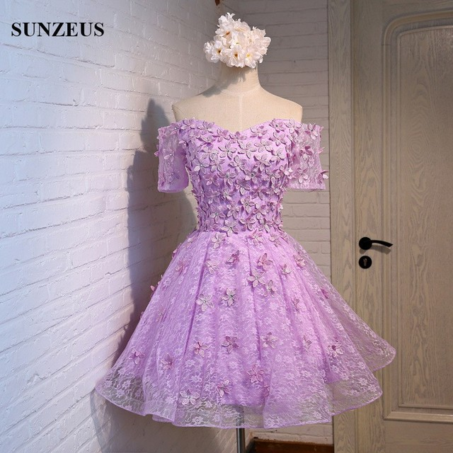 Boat Neck Off the Shoulder Purple Bridesmaid Dress Short Half Sleeve Elegant Wedding Party Dress for Girls Lace Flowers S391