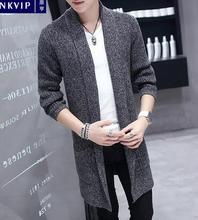 Windbreaker mens suits korean long cloak young students thicken autumn mens cardigan sweater blazer masculino slim fit grey