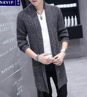 Windbreaker mens suits korean long cloak young students thicken autumn mens cardigan sweater blazer masculino slim fit grey