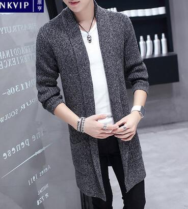 Windbreaker Mens Suits Korean Long Cloak Young Students Thicken