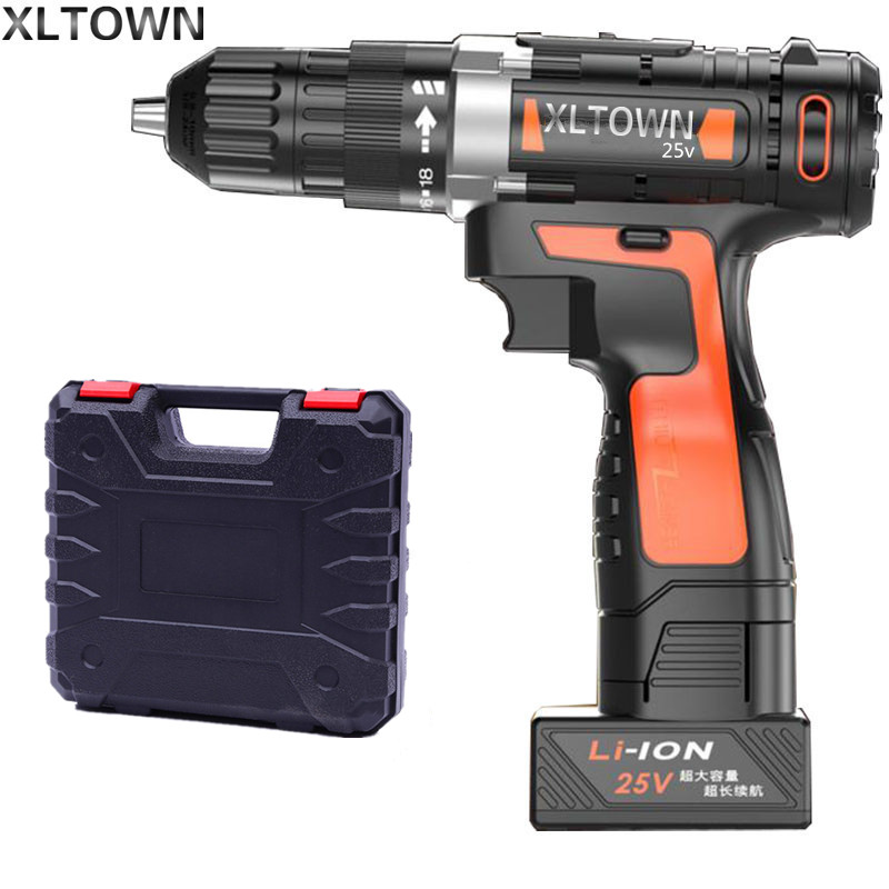 цена на Xltown 25v two-speed lithium battery electric drill with a plastic box Cordless electric screwdrivers power tools free shipping