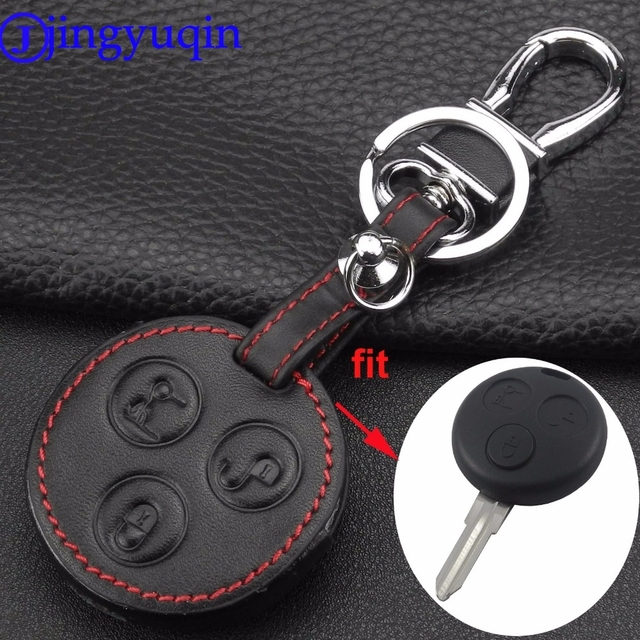 jingyuqin 3 Buton Car Styling Genuine Leather Car Keychain Key Fob Case Cover For Mercedes Benz Smart Fortwo Forfour City Roadst