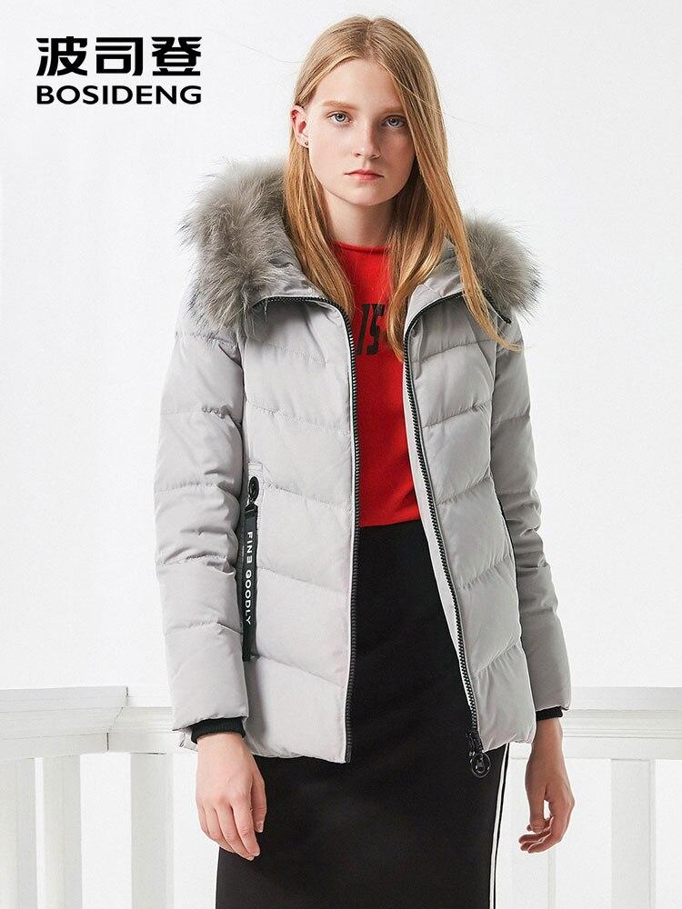 BOSIDENG women down coat winter thick down jacket mid long real  fur collar thick parka ribbons pocket B70141058Down Coats   -