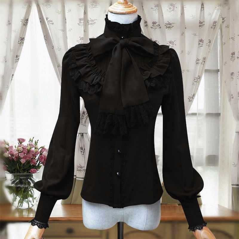 PYJTRL Винтаж Лолита цвет красного вина, черный, синий, белый шифоновая рубашка с длинным рукавом для женщин Стенд воротник элегантный Blusas женский Готический блузка
