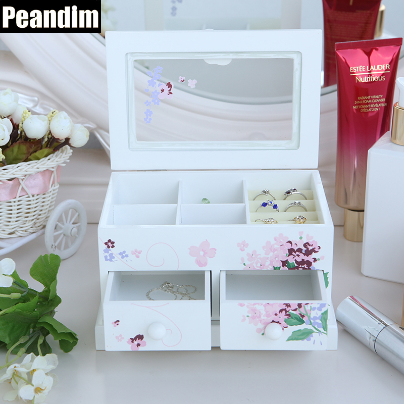 PEANDIM Printing Flower White Wooden Jewelry Box Cosmetic Makeup