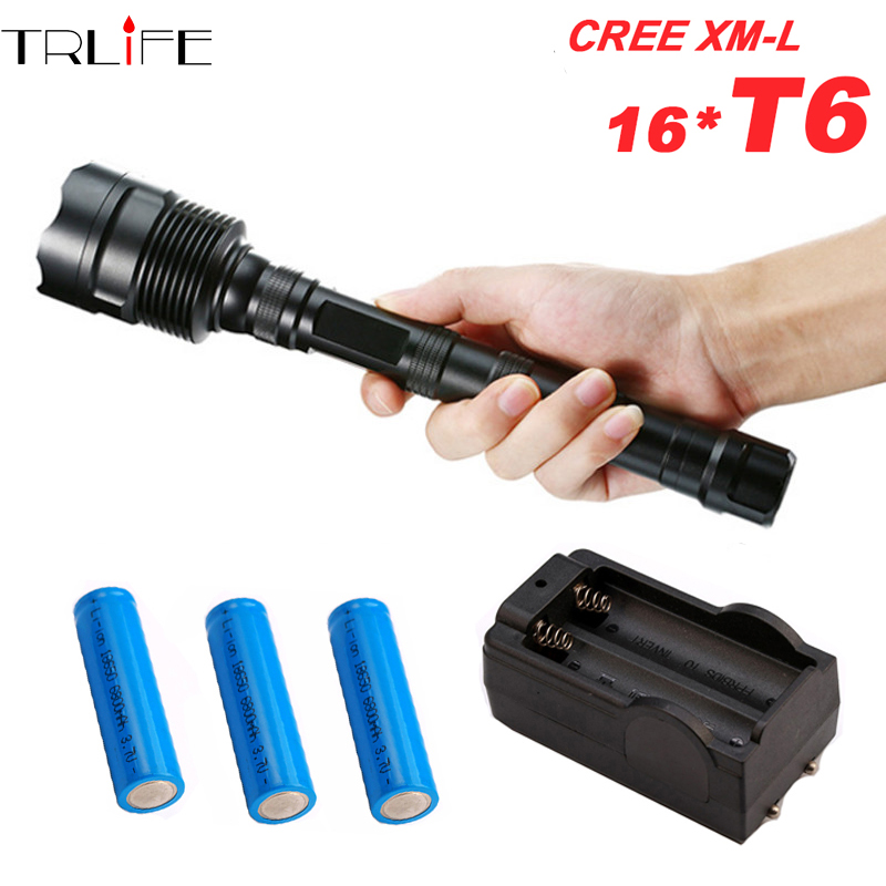 80000Lumens CREE XML 3-16*T6 Tactical Powerful LED Flashlight Lighting Torch Lantern Flash Light Lamp+3*18650 Battery + Charger 5000 lumens flashlight cree xm t6 5modes led tactical flash light waterproof lamp torch hunting flash light lantern for camping