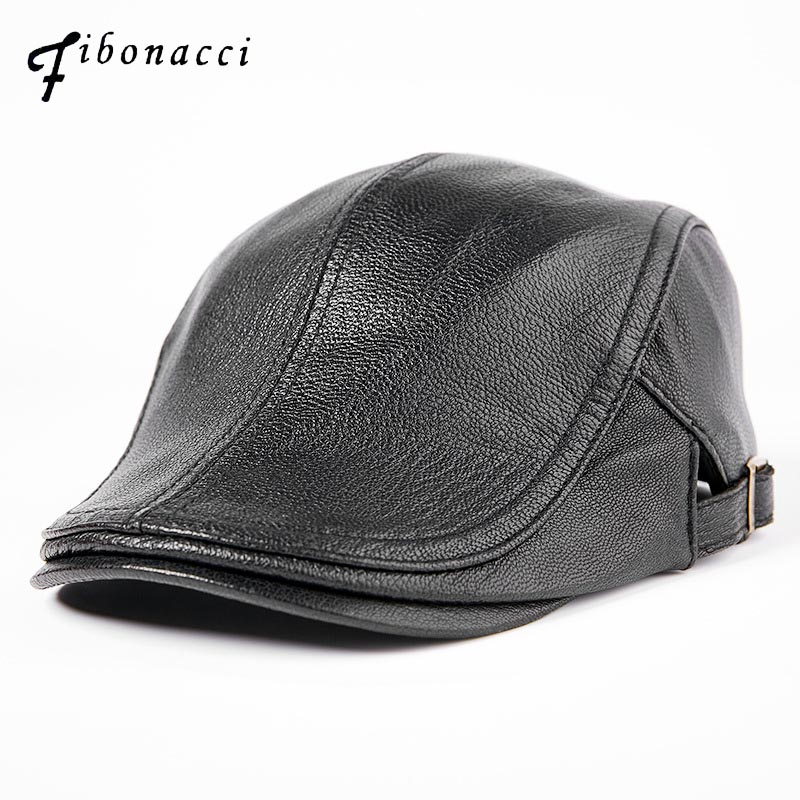 Fibonacci First layer Sheepskin Genuine Leather Newsboy Cap Duckbill Shape Vintage Flat Autumn Winter Cap Man Beret Hat