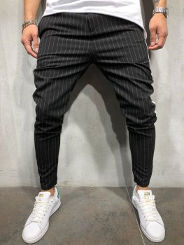 Pants 2018 Brand New Mens Skinny Slim Fit Bottom Stripe Casual High Pants With Pockets Workout Hip Hop Track Trousers