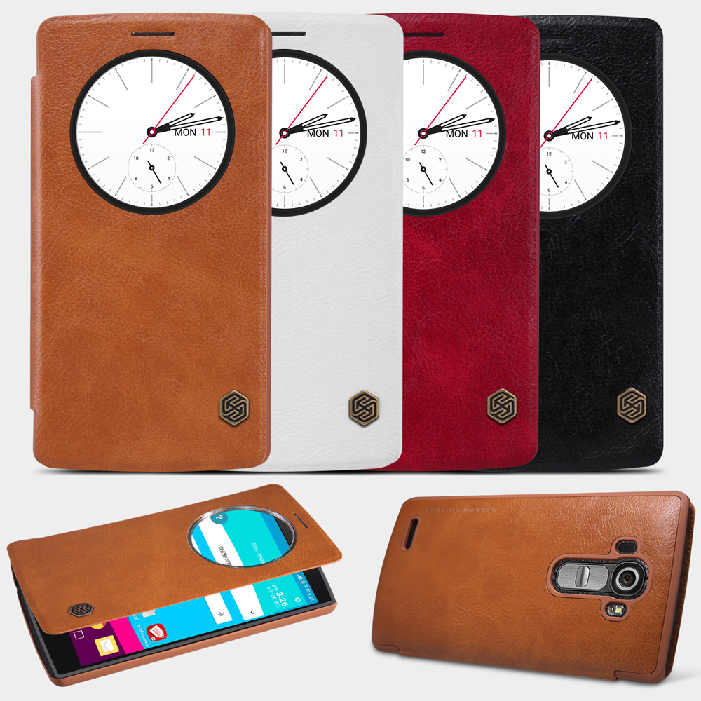 For LG G4 /H810/H815/H818/VS999/F500 Case, Nillkin Leather Quick Circle View Window Smart Cover Case For LG G4 G 4 Wake Sleep