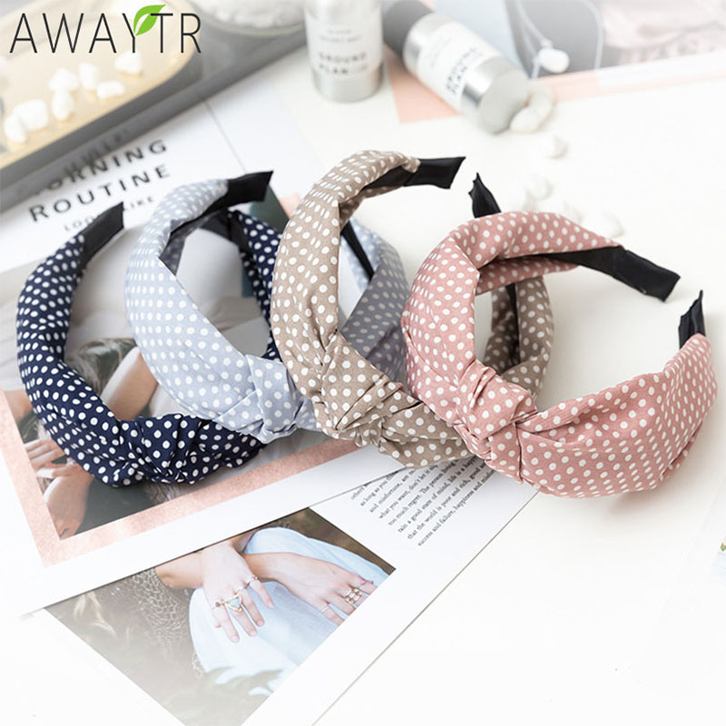 Women Hair Accessories Cotton Plaid Hairband Knot British Style Striped Fabric Headband Girls Headwear Spring Hair Band 2019 New