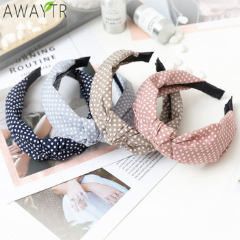 Women Hair Accessories Cotton Plaid Hairband Knot British Style Striped Fabric Headband Girls Headwear Spring Hair Band 2019 New knot front striped dress