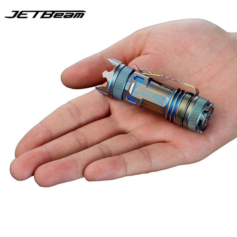 JETBeam II PRO Titanium Meta Mini LED Flashlight 510 lumen Cree XP-L HI Light Portable mini Flashlight ...