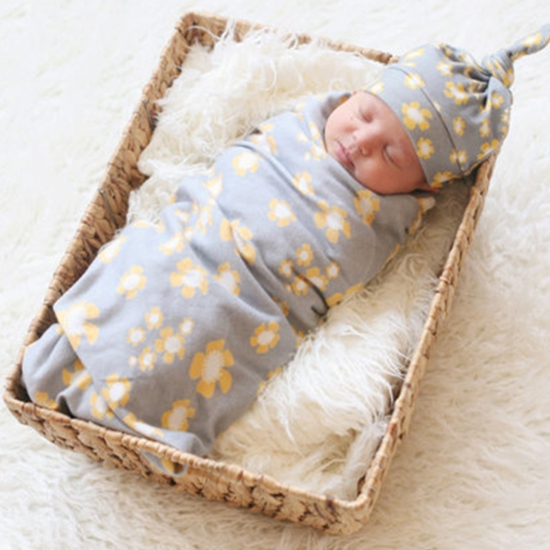 Mother & Kids Hearty Newborn Baby Soft Floral Bedding Swaddle Blanket Bath Towel With Hat Cap Set New 100% Original Baby Bedding