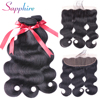 Sapphire Peruvian Body Wave Human Hair Bundles With Closure 13X4 Lace Frontal Closure With 3 Bundles