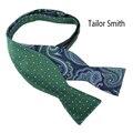 Sastre Smith Marino Verde Paisley Auto Bowtie Moda Reversible Diseñador Auto Tied Bow Tie Corbatas Para Hombre Corbata de Seda Pura De Lujo