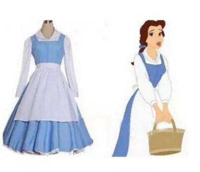 Anime Beauty And The Beast Princess Belle Costume Adult Blue Maid Cosplay Dress Costumes Fantasia Women Halloween Cosplay