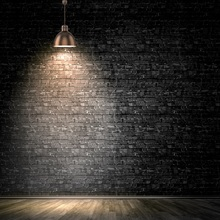 Laeacco Dark Brick Wall Shiny Spotlight Wooden Floor Stage Baby Portrait Photo Background Photographic Backdrop Studio