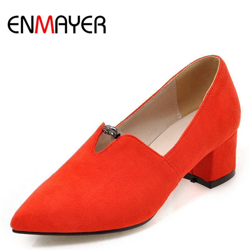 ФОТО ENMAYER Women Pumps Square Heel Spring&Autumn Fashion Slip-On Flock Pointed Toe Black Red Pumps for Women Casual Style Shoes