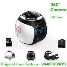 4K 360 Degree Action Video Camera Wifi Mini 2448*2448 16MP Ultra HD Panorama Camera 3D Waterproof Sport Driving VR Camera