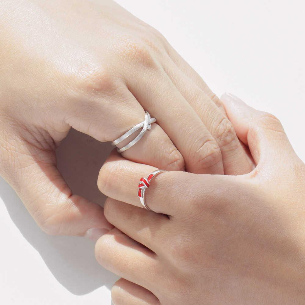 Thaya S925 Bạc Đỏ Nút Thắt Vòng Chuỗi Đeo Chéo Valentine Ngón Tay Cho Nữ, Nhẫn Nữ Boho Đầm Hàn Quốc Trang Sức Nữ Người Yêu Quà Tặng