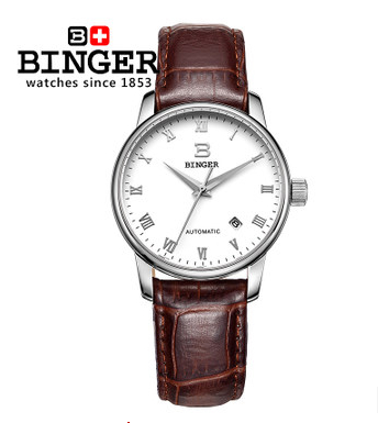 High Quality Cool Men Automatic Mechanical Binger Watch Luxury Real Leather Calendar Wristwatches Genuine Brand font