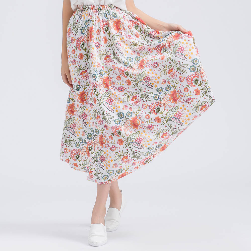 2018 Summer Fashion floral Skirt High Quality Vintage Skirt High Waist Plus Size Ladies SWomen Skirt Vintage Midi Skirt