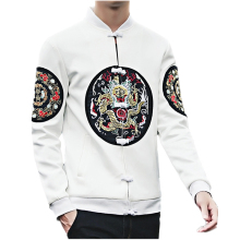 Spring and Autumn Chinese Style Embroidery Men's Long Sleeve Jackets  S M L XL 4XL 5XL Black White Fashion Business Man Coats