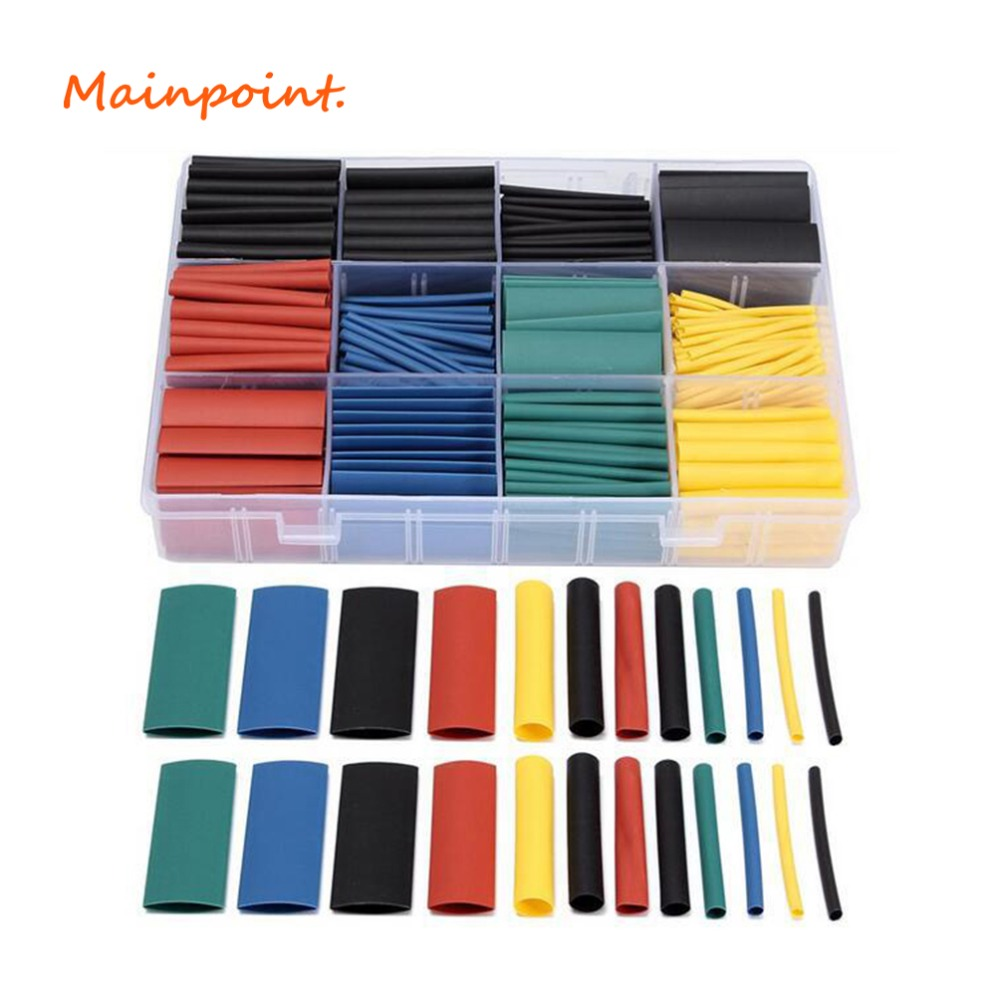 530Pcs Heat Shrink Tubing Sets Insulation Shrinkable Tube Polyolefin Termoretractabil 2:1 Thermal Wrap Wire Cable Hand Tools Set 16mm diameter heat shrinkable tube shrink tubing wire wrap 10m blue