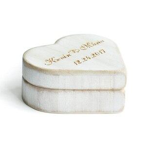Image 5 - חתונת לב לבן בציר תיבת טבעת, אישית עץ טבעת נישואים תיבת כרית, תיבה מחזיק טבעת חתונה כפרית