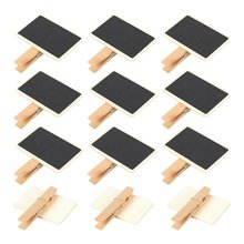 METABLE Mini Blackboard Clips - 12-Set Chalkboard Tag Signs, Wooden Message Board for Memo, Note Taking, Food Label