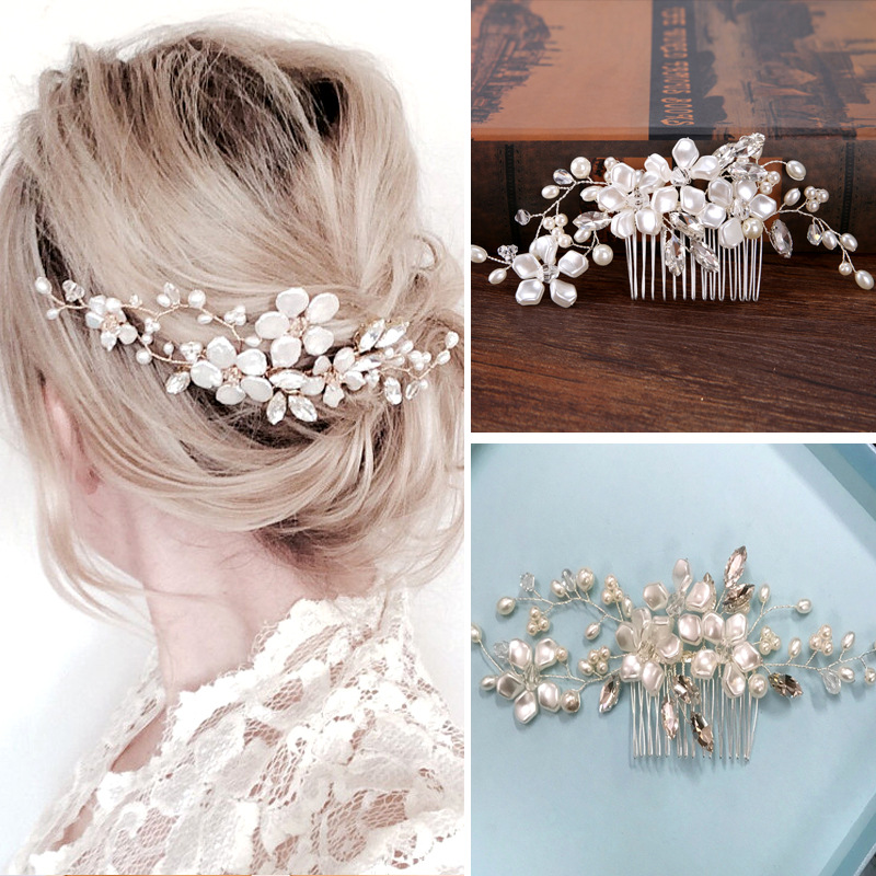 Handmade Silver Crystal Pearls Flowers Hair Combs Wedding Hair Accessories Party Bridal Starry