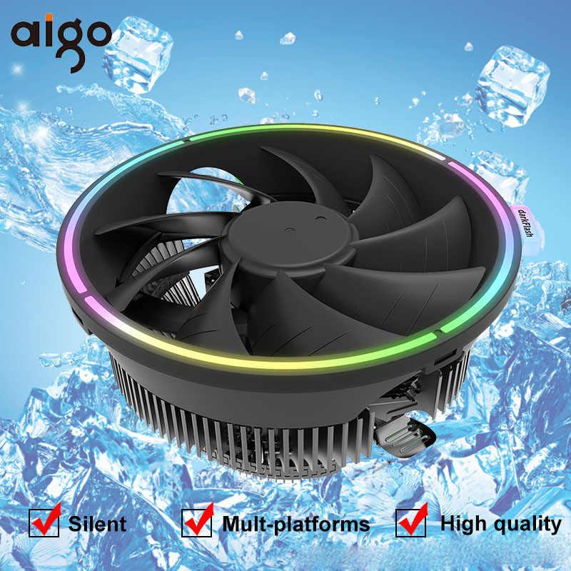 مبرد لوحدة المعالجة المركزية Aigo RGB مبرد 3PIN لـ AMD Intel 775 1150 1151 1155 1156 كمبيوتر صامت وحدة المعالجة المركزية تبريد مروحة تبريد LGA AM3/AM4