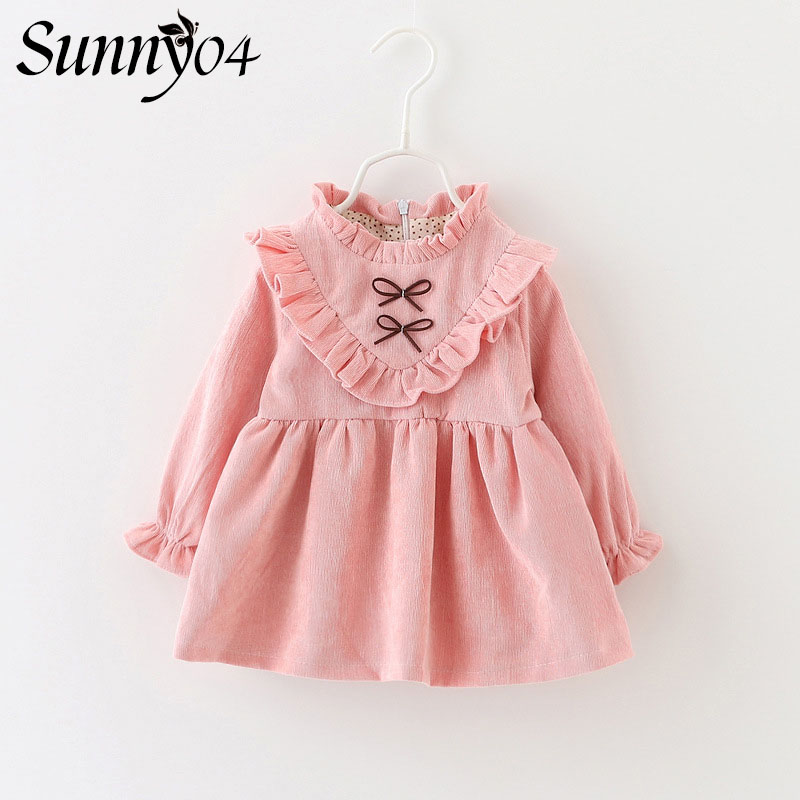 2017 New Children Dress Long Sleeve Fashion Infant Girls Clothing Cute Baby Costume Floral Lace Bow Winter Warm Princess Dress acthink 2017 new girls formal solid lace dress shirt brand princess style long sleeve t shirts for girls children clothing mc029