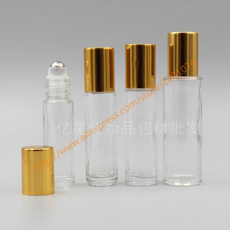 6ml 8ml 10ml 15ml clear Glass Bottle With stainless roller gold aluminum lid roll on bottle