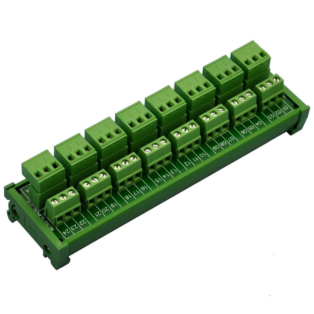 Electronics-Salon DIN Rail Mount Pluggable 8x3 Position 10A/300V Screw Terminal Block Distribution Module. (Top Wire Connects) 5 pcs 400v 20a 7 position screw barrier terminal block bar connector replacement