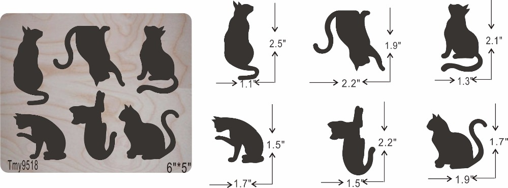 A group of cats 3 DIY new wooden mould cutting dies for scrapbooking Thickness 15 8mm