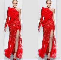 Sexy Hot Red Evening Dress one Shoulder Lace With Big Flower Prom Dress High Spite vestido de festa Formal Party Dress