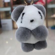 100 Rex Rabbit Fur Soft Panda Keychain Pendant Bag Pendants 2016 Fashion Unisex Key Chains Key