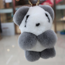 100% Rex Rabbit Fur Soft Panda Keychain Pendant Bag Pendants 2016 Fashion Unisex Key Chains Key Rings For Women Christmas Gift
