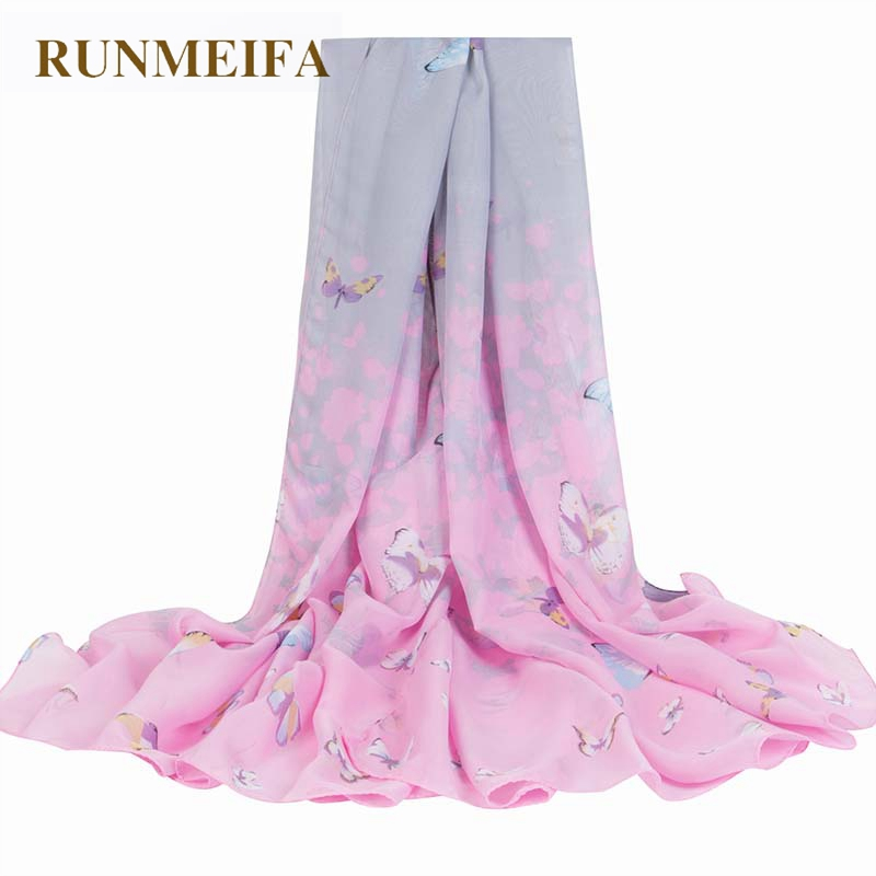 Impartial Runmeifa Beach Scarf Summer Chiffon Butterfly Print Silk Scarf Oversize Sunscreen Pareo Beach Shawl Female Luxury Brand Scarves With The Most Up-To-Date Equipment And Techniques Women's Scarves