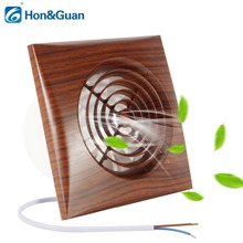 Hon&Guan 4 Inch Wood Grain Bathroom Kitchen Ventilation Wall Mounted Exhaust Extractor Fan with Back Draft; 10W 220V 110V