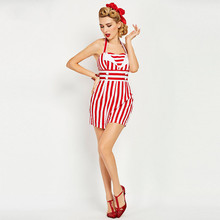 2017 Hot Summer Pin Up Sexy Rompers Cute Red Striped Female Women Fashion Shorts Retro 2017