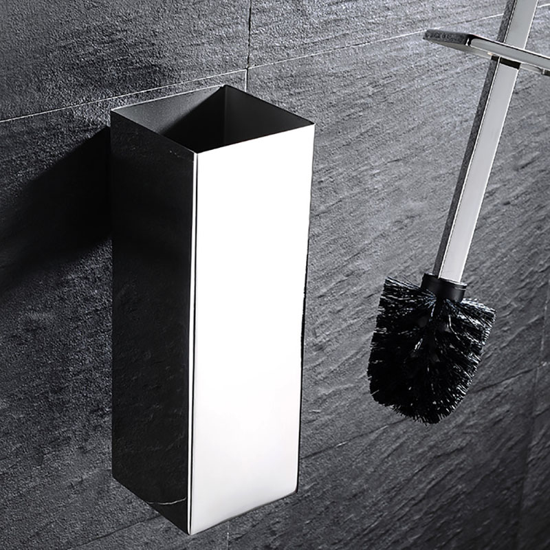 Bathroom Hardware Accessories Mirror Polished Chrome Stainless Steel Toilet Bath Clean Kit Square Toilet Brush bathroom hardware accessories mirror polished chrome stainless steel round long toilet brush for bathroom