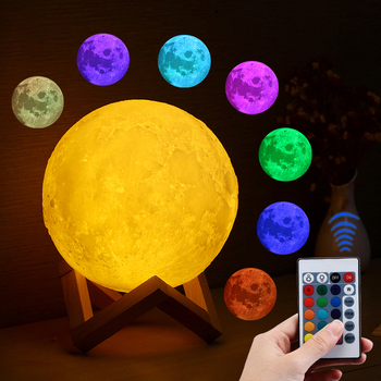 Moon light REMOTE CONTROL decorative Usb holiday Lamp Creative dream table lamp colorfully Touch 16Color Changed Decor Bedroom 24cm big moon lamp usb holiday atmosphere decorative sleeping table lamp touch bedside kids baby light creative gift chargeable