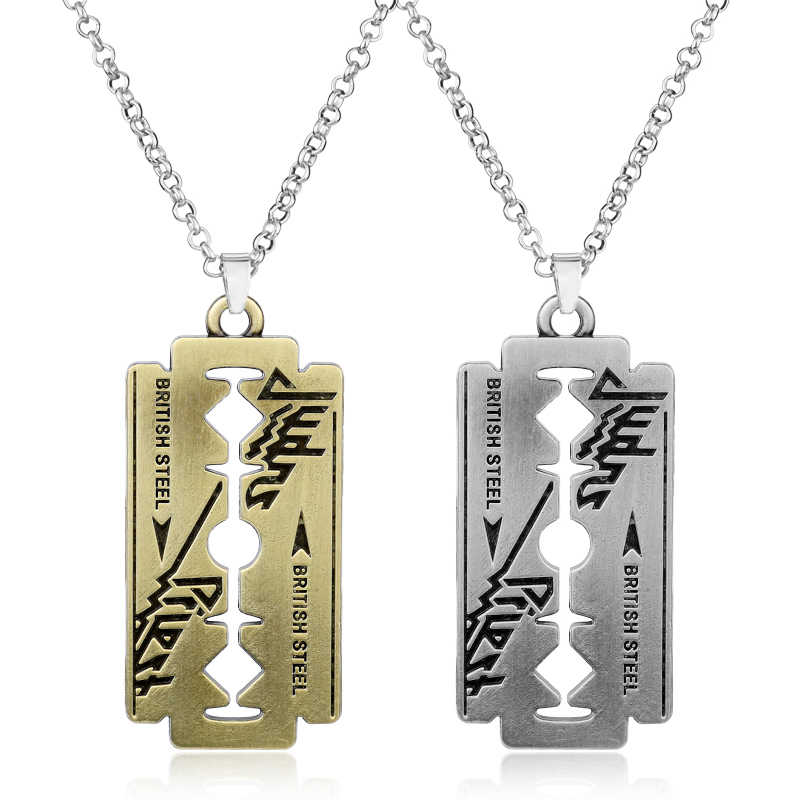 Music Band Judas Priest Necklace razor blade shape Pendant Fashion link chain Necklaces Friendship Gift Jewelry Accessories