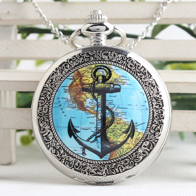 Silver/Bronze American Continent Map Navigation Anchor Pocket Watch With Long Ne