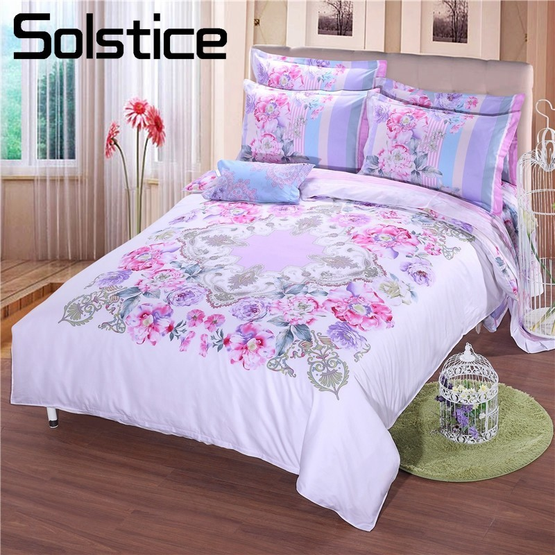 Solstice Home Textile Luxury Elegant Classic European Style Printed Cotton 4PCS Bedding Sets Duvet Cover Pillowcase Bed SheetsSolstice Home Textile Luxury Elegant Classic European Style Printed Cotton 4PCS Bedding Sets Duvet Cover Pillowcase Bed Sheets