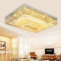 Moderne salon plafond lampe Continental plat cristal lampe Simple carré LED plafond lampe de Luxe lampe de salon de cristal